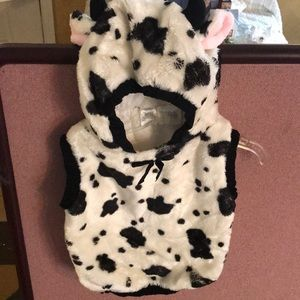 Toddler Cow costume hooded vest with ears tail